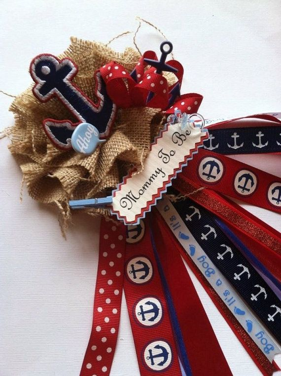 Rustic Nautical Theme Baby Shower Corsage by AlittleSweetBowtique