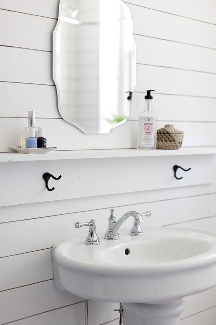 White shelves bathroom - We Ought To Add A Little Ledge Like This To Ours With Towel Hooks Shiplap Bathroombathroom Shelvesbathroom