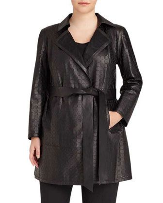 Jeanette Laser-Cut Coat, Black, Plus Size by Lafayette 148 New York Plus at Neiman Marcus Last Call.