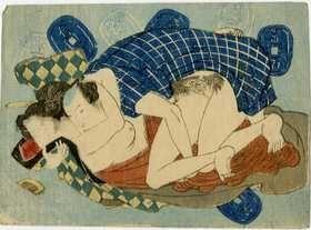 Utagawa - pareja y monedas japonesas shunga woodblock