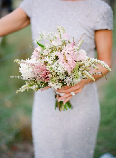 Baby pink astilbe and hyacinth: http://www.stylemepretty.com/2015/04/14/20-pastel-bouquets-for-the-bride/