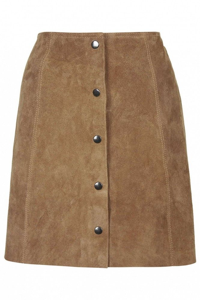 Topshop Tall Suede Popper Front Skirt // Brown suede skirt with button down front