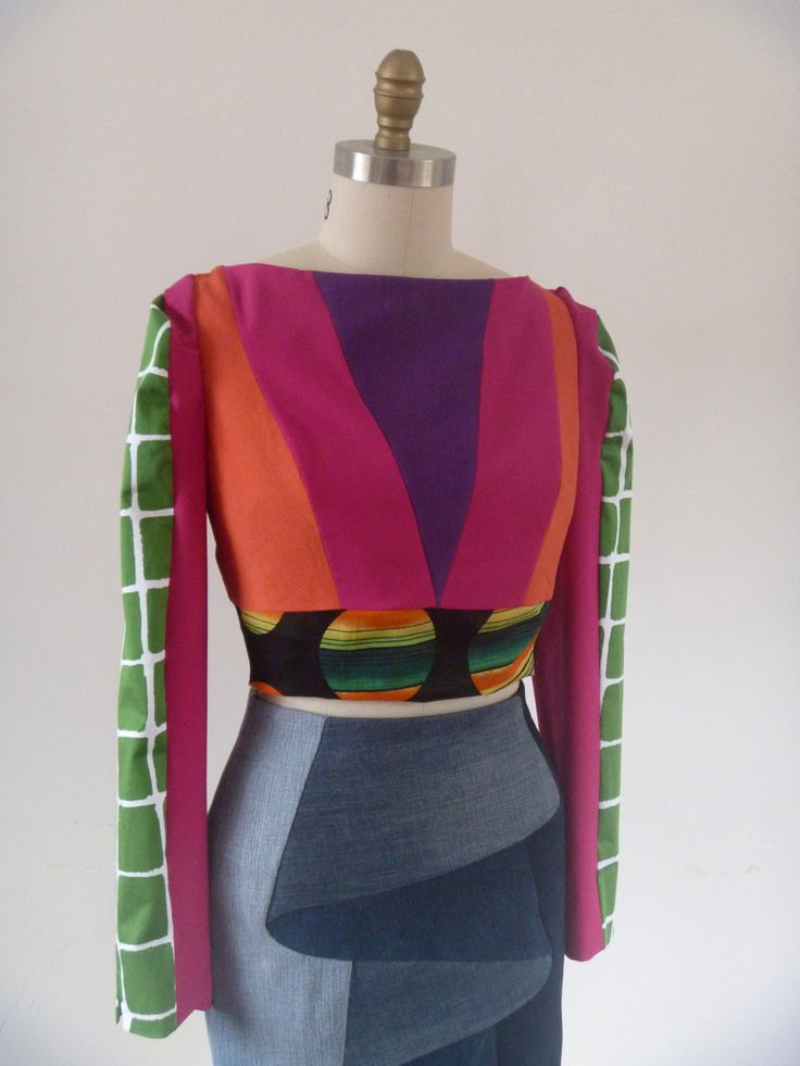 Long Sleeved V-top Upcycled fashion by Melbourne based fashion designer lucy blythe