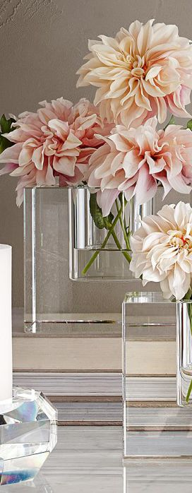 Elegant crystal block vases  | Simple floral arrangement
