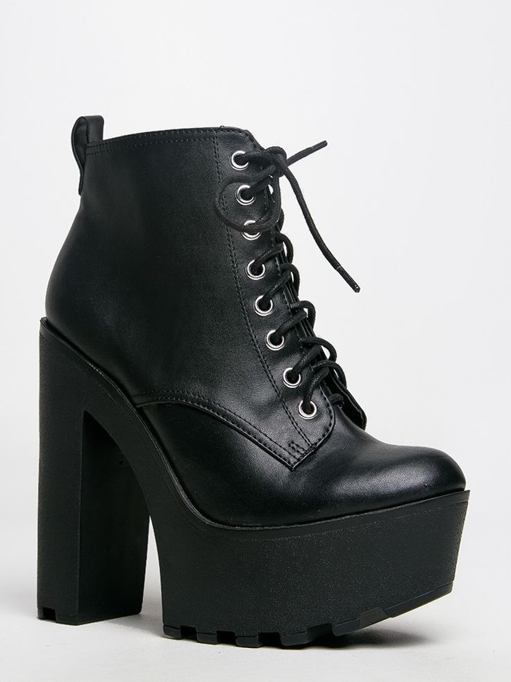 - Brave the chilly weather in style with these lace up booties! - Ankle boots have a chunky, raised platform and heel, perfect for conquering the rain and snow. Also has a side zipper closure for easy