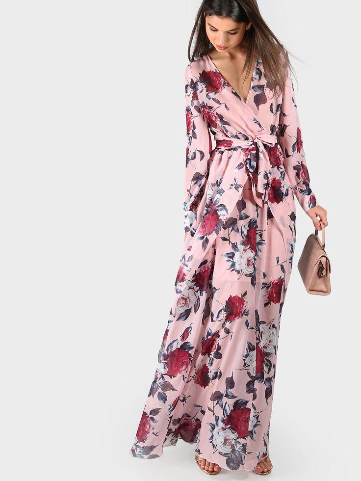 Pink Flower Print Wrap Front Surplice Dress