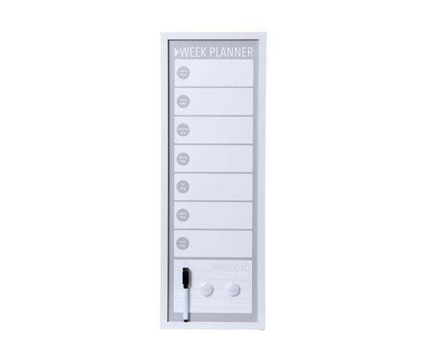 Memo -& white board weekplanner  metal  60 x 20cm. W. 2 magnets & marker. . € 22,50