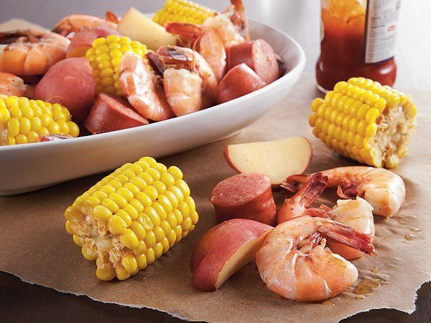 Slow Cooker Low Country Boil - hearty dinner featuring sausage, shrimp, potatoes and corn-on-the-cob – a classic summertime meal.