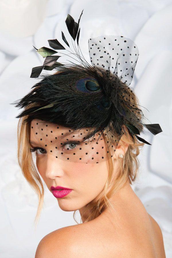 Black peacock mini cocktail hat