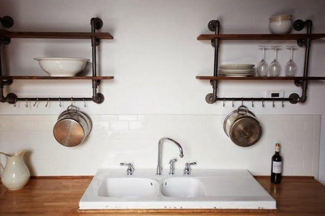 Rustic Cabin Kitchen Diy Pipe Shelves Cabin Inside