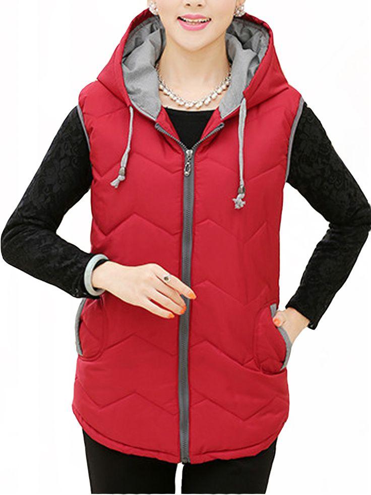 Vintage Middle Aged Women Hooded Thick Vest Coat @woohooshop