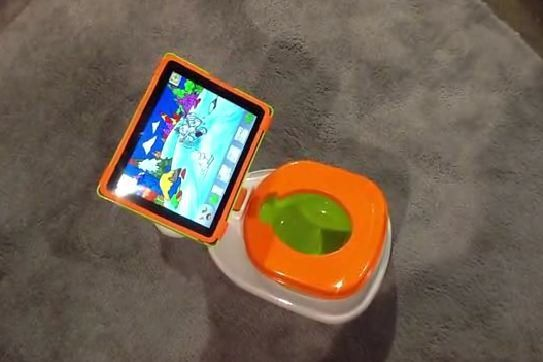 The iPotty is a potty for toddlers with a built-in iPad holder.