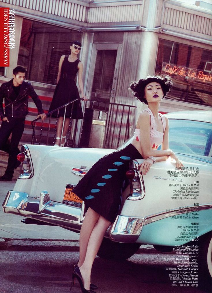 Captured by Lincoln Pilcher, models Wang Xiao, Lily Zhi and Zhao Lei get caught in a love triangle for the March edition of Vogue China. Garbed in 50′s style outfits from labels such as Alexander Wang, Dolce & Gabbana, Marc Jacobs and Calvin Klein selected by stylist Morgan Pilcher. Whether at an ice cream shop or in a vintage car, the trio keeps it cool in the retro attire. / Hair by Jordan M, Makeup by Tamah K