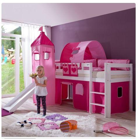 Zeer complete #halfhoogslaper (90x200) in massief beuken. Mooi roze met glijbaan, speeltenten en torentje!