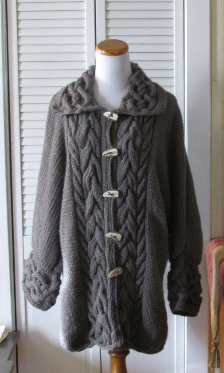 Hand knit Aran Celtic coat