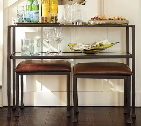 Tanner Console Table  decor  Leather stool Table for
