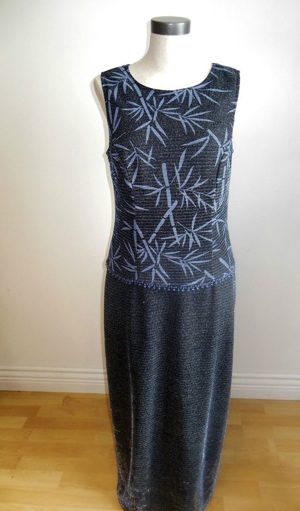 Joseph Ribkoff Formal Maxi Dress Blue and Silver Metallic Fabric Evening size 12 #JosephRibkoff #MaxiMaxiDress #Formal