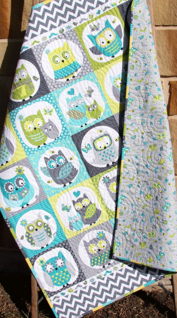 Owl Baby Quilt, Boy Patchwork, Bedding Blanket, Nursery Crib Cot, Gray Teal Green Aqua Blue, Chevron Child Youth, Ready To Ship by SunnysideDesigns2