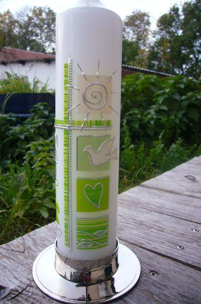 Taufkerzen - Taufkerze *grün* - ein Designerstück von Buchbinder-Uli bei DaWanda