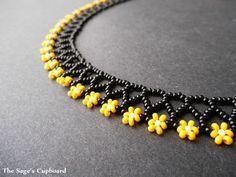 Bumblebee Floral Mini Collar. Black and Yellow Handmade Beaded Daisy N…