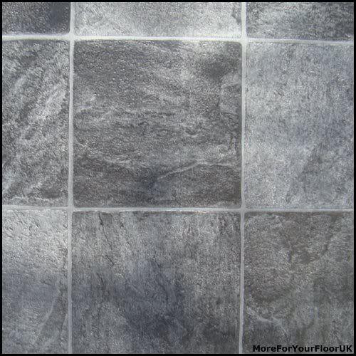 Grey Stone Tile Vinyl Flooring Kitchen Bathroom Lino