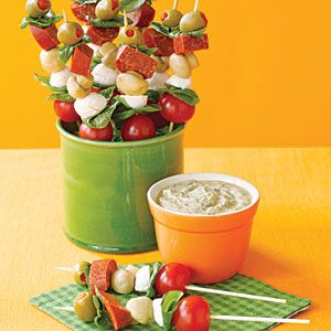 Antipasto Skewers with Pesto Dip...looking for an interesting picnic lunch for wine tasting this weekend!