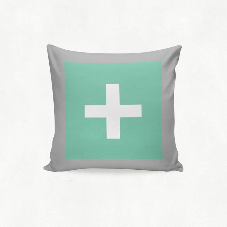 IMIMAH #Scandanavian inspired statement cross outdoor cushion in mint & grey - $38 + pp - from IMIMAH.co. #cushions #pillows #livingroom #decor #homewear #homespo #mint #grey #cross #crosses #plus