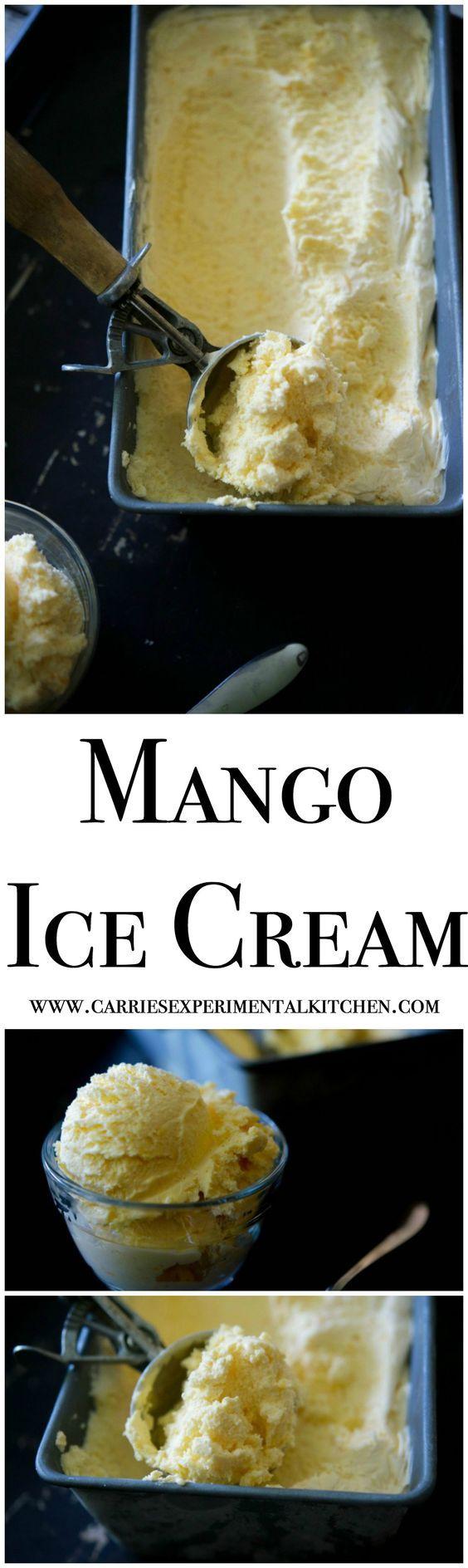 Homemade Mango Ice Cream made with sweet mangoes, heavy cream, milk, sugar and vanilla makes the perfect summertime frozen treat.