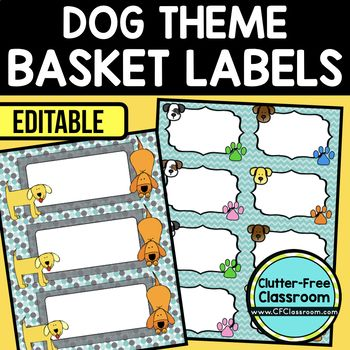 DOG THEME Editable Labels by CLUTTER FREE CLASSROOM - These organizational labels have many uses in the classroom or home school. They can be classroom library labels, name tags for cubbies or desks, supply labels, used for organizing centers, and much more. Grab these cute printables today for your preschool, Kindergarten, 1st, 2nd, 3rd, 4th, 5th, or 6th grade classroom or home school.  And make sure to check out the links for some FREE downloads to help make your space look great!