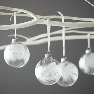 "Christmas bauble   ""The bauble has a white feather inside which is personalised with hand rubber stamping in the name or word of your choice up to 7 characters. They are great to put a loved ones name on, mum, dad etc.  Last year a few people put the names of people they may have lost on their feather, its a nice way to remember someone special :) """
