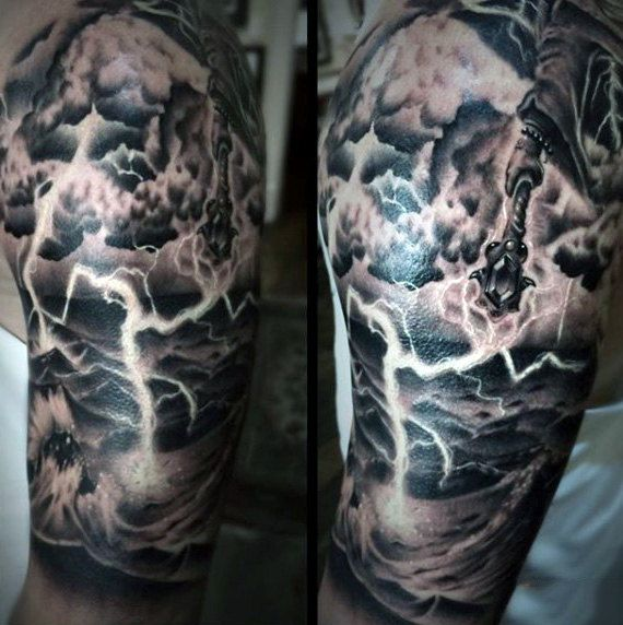 Tattoo Designs For Male Upper Arm: 60 Lightning Tattoo Designs For Men