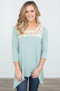 Crochet Lace Detail Asymmetrical Tunic - Dusty Mint
