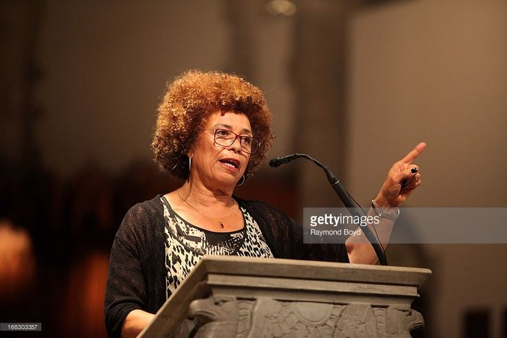 Political activist, scholar and author Angela Davis, speaks at the University Of Chicago's Rockefeller Chapel in Chicago, Illinois on MAY