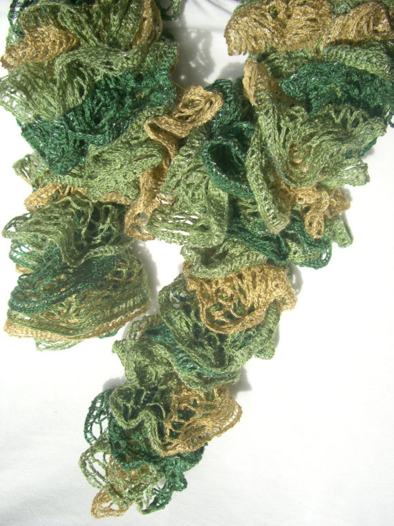 Camouflage Loopy Scarf Ladies Green Frilly by KrystalzKreations, $25.00