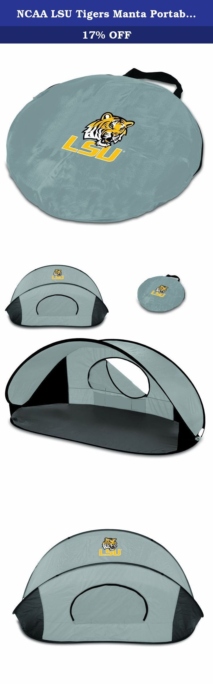 NCAA LSU Tigers Manta Portable Pop-Up Sun/Wind Shelter. This NCAA Manta portable shelter is compact and allows for quick and easy set up. Designed for use at the beach, the park or even the backyard, this open-front day tent offers protection against the sun or wind. The built-in floor acts as barrier to the sand, hot cement, or wet grass, and a zippered mesh window allows for cross-ventilation. The Manta features a lightweight polyester shell, with your favorite team's logo, on a wire…