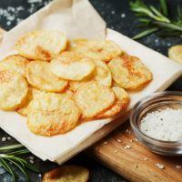 Homemade sour cream and onion potato chips