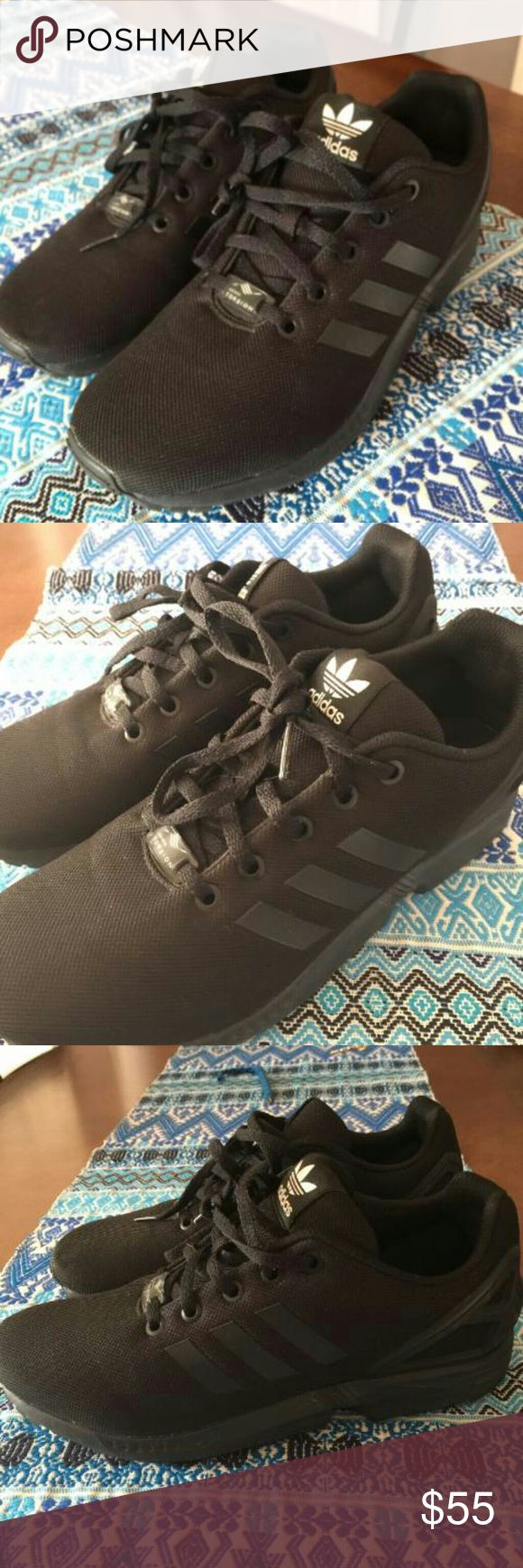Adidas ZX Flux Black Sneakers Size:7  -Only worn about 3 times -8/10 condition - I don't wear these anymore so I'm looking to get rid of them -No trades adidas Shoes Athletic Shoes