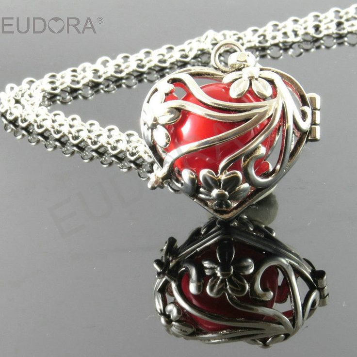 30'' Silver Angel Caller Red Antenatal Training Floral Design Angel Bell Pendant #Eudora #Pendant