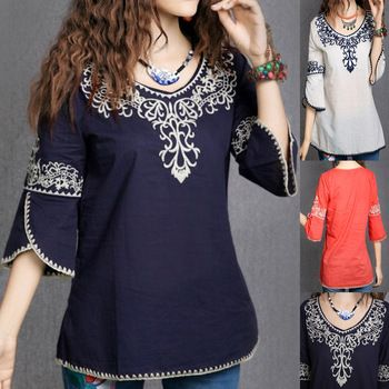 Vintage 70s Mexican Ethnic Floral embroidery HOBO t shirt women clothing,Casual Women t-shirt women tops,blusas femininas 2014