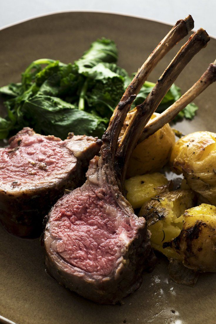 NYT Cooking: Tender rack of lamb, though expensive, makes an elegant roast for a special-occasion dinner, and it's quite easy to prepare. A brief marinade of pounded garlic and anchovy, Dijon mustard and olive oil heightens the flavor. For a simpleaccompaniment, roast small crushed potatoes in the same pan. Each eight-bone rack may be sliced into four thick chops, or eight thin chops,%2...