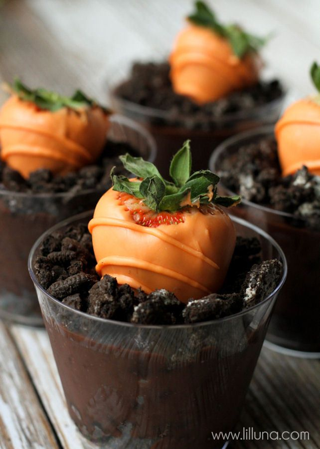 How cute are these?! Carrot Strawberry Pudding Cups