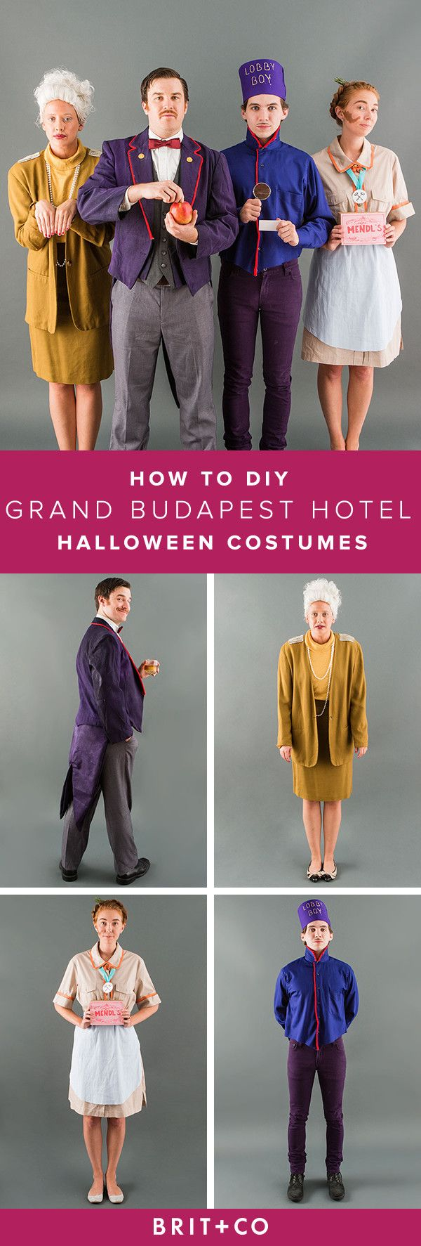 Wes Anderson fans, bookmark this tutorial ASAP! Follow this guide to turn your crew into the cast of The Grand Budapest Hotel for Halloween.