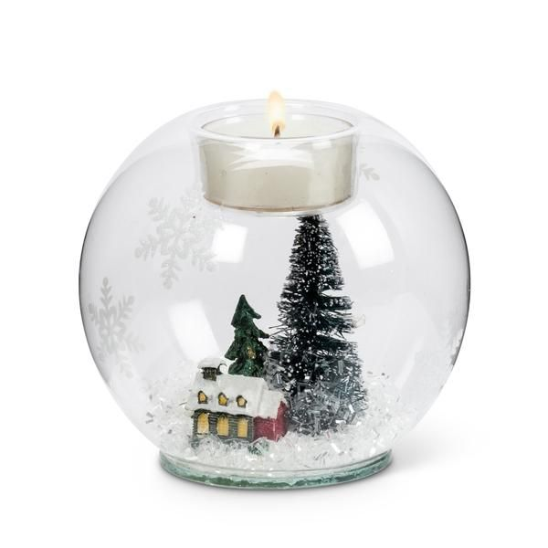 Clear Green Snowfilled Votive Holder with House and Tree