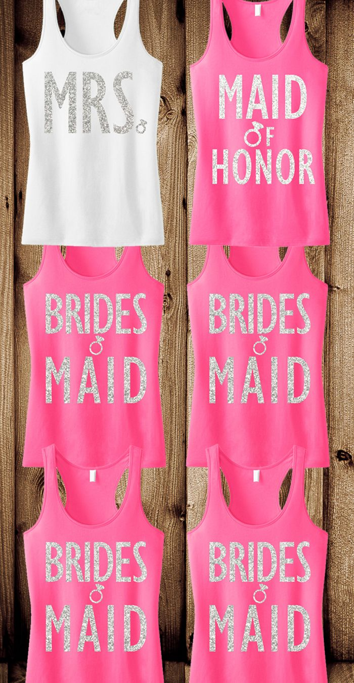 """#Bachelorette Party tank tops! Cute glitter print tanks for the #Bride, #Bridesmaids and Maid of Honor. Pick """"8"""" for only $169.95, Free MRS. tote bag included! Click here to buy http://nobullwoman-apparel.com/collections/bridal-shirt-packages/products/bridal-wedding-8-tank-tops-15-off-bundle"""