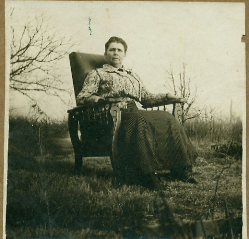 Sarah Allen Atkins in Lamar MO on the Calvin Atkins Farm in her chair
