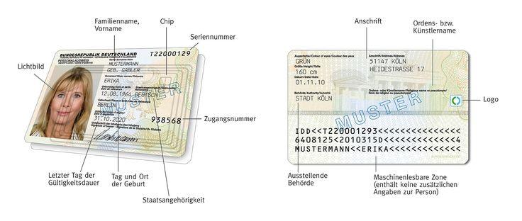 Neuer deutscher Personalausweis ab 1. November 2010, Vorder- und Rückseite (Muster) - Personalausweis (Deutschland) – Wikipedia