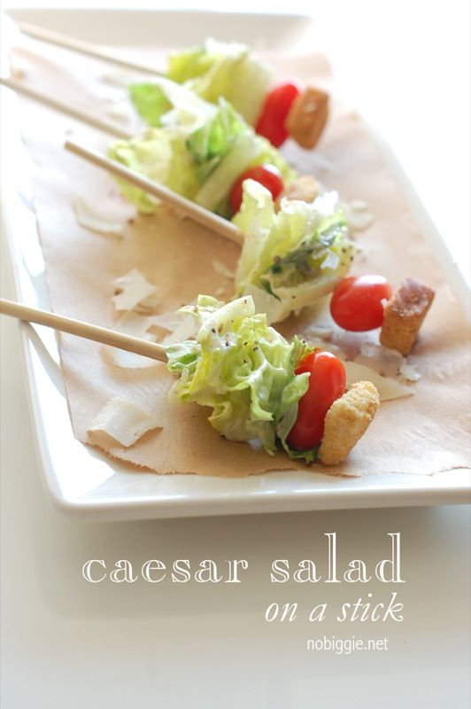 An easy way to serve salad as a finger good. Make it a caesar salad on a stick or strawberry poppy seed. The options are endless :)