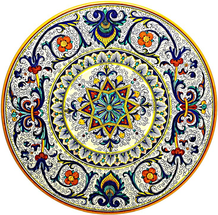 Hand Painted Ceramic Majolica Plate | 47cm