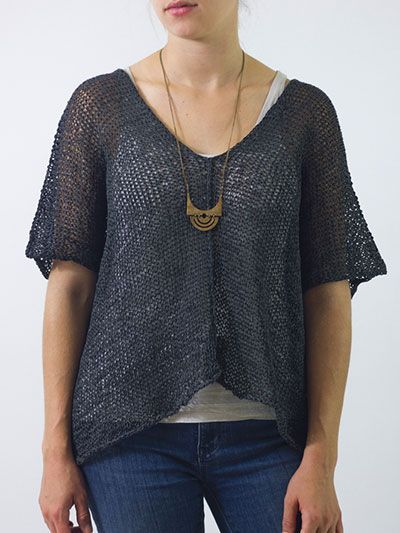 """Knitting pattern for Helena Top - easy to knit versatile top to wear year round - as a beach cover up, or layer over a tee shirt or sweater. Wardrobe staple! Bust: 48 (52, 56, 60, 64, 68)""""; Get more info at Annie's (affiliate link) tba beach"""