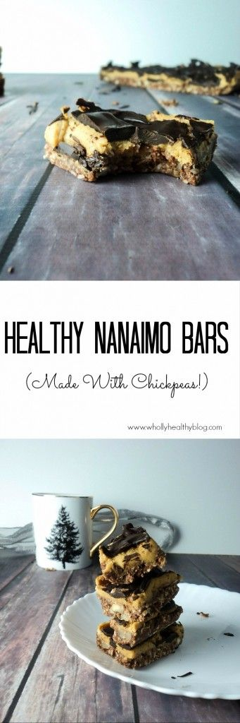Healthy Nanaimo Bars made with a secret ingredient - chickpeas! Healthy and Delicious.